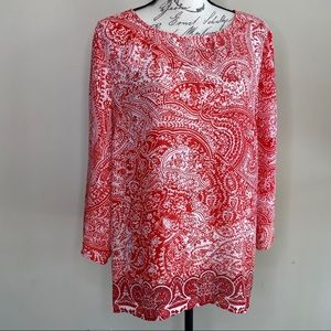 Artisan NY red floral tunic top XL